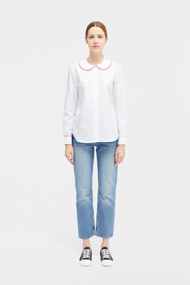 White Puritan Collar Shirt image 3
