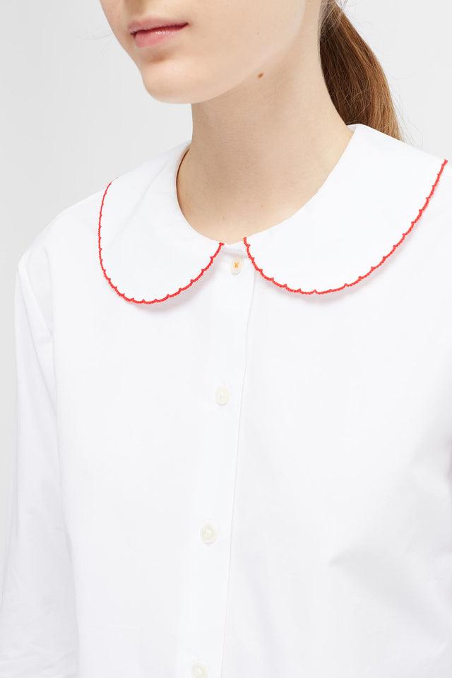 White Puritan Collar Shirt image 5