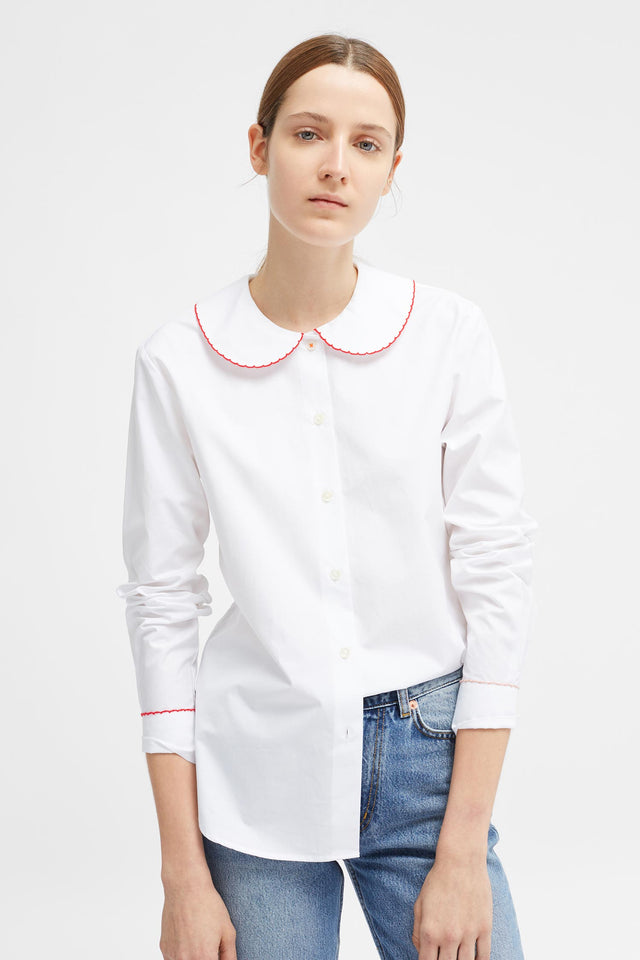 White Puritan Collar Shirt image 1