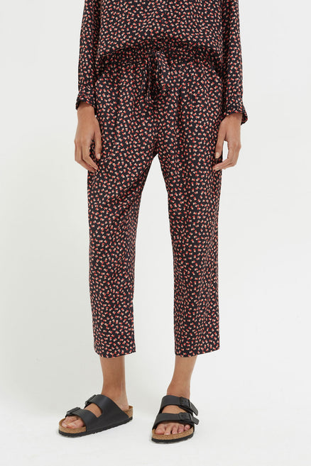 Black Twin Heart Relaxed Pant
