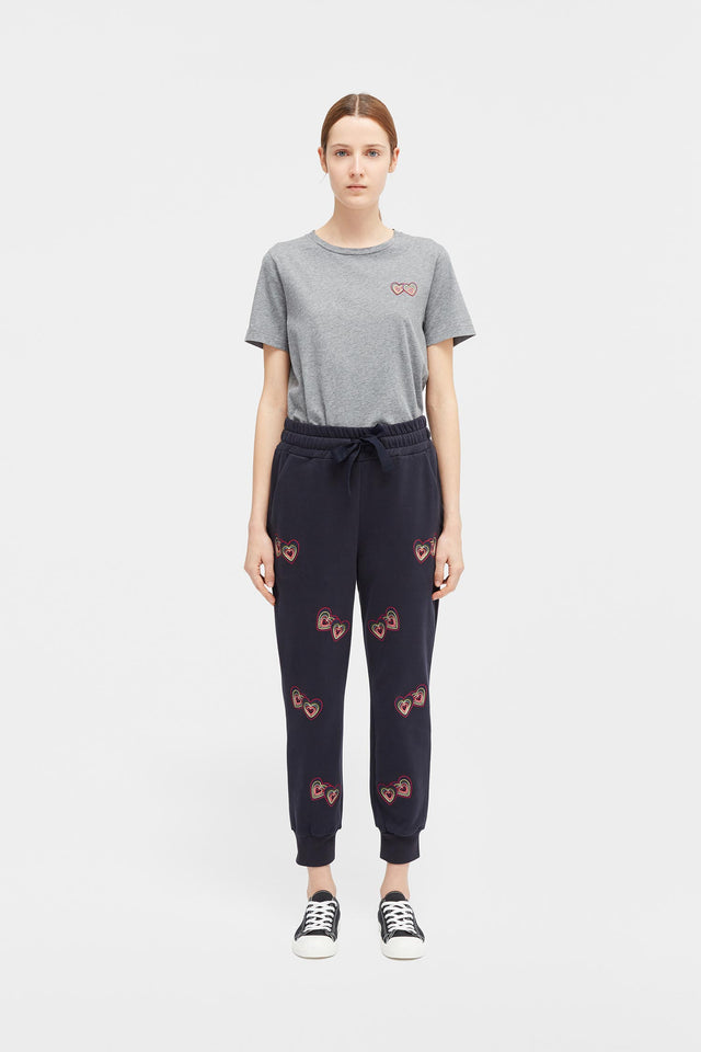 Navy Twin Heart Track Pants image 1