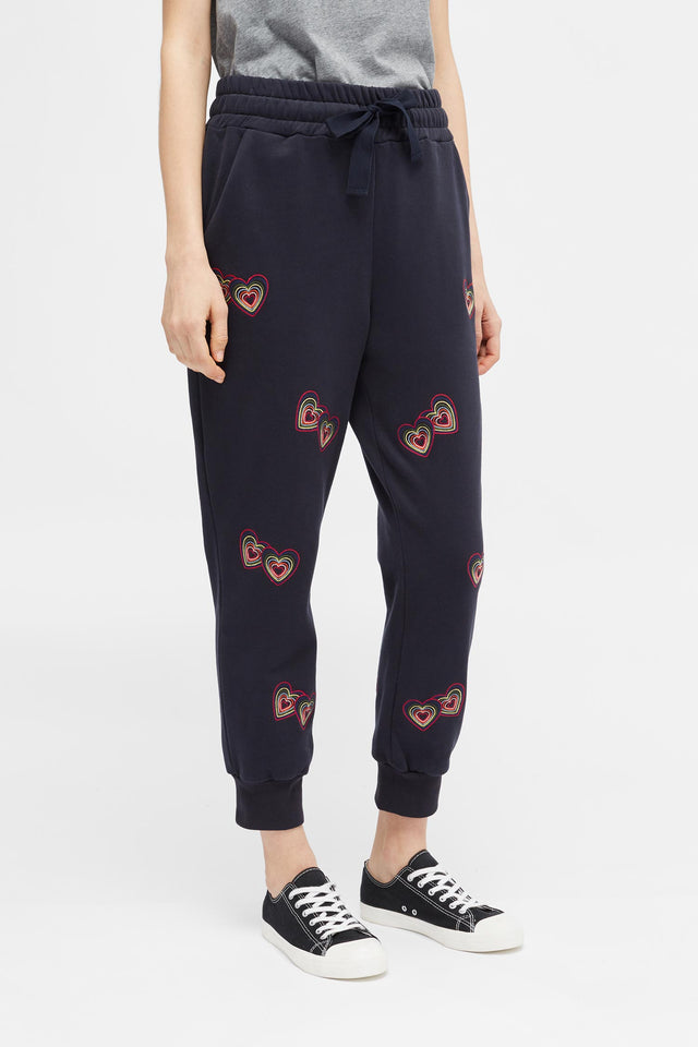 Navy Twin Heart Track Pants image 3