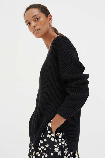 Black Cotton Weekend Sweater