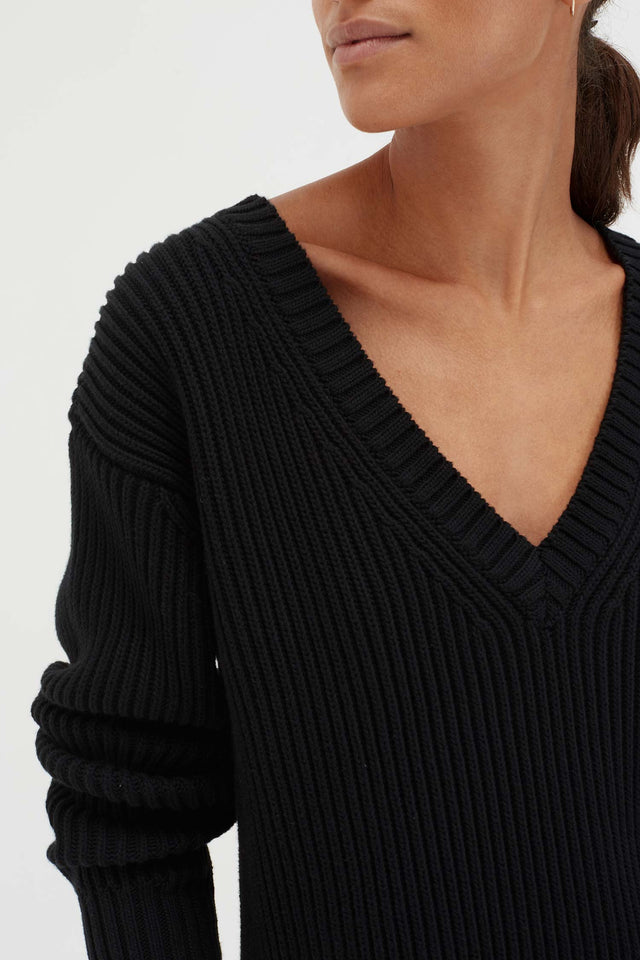 Black Cotton Weekend Sweater image 4