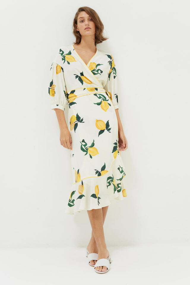 White Lemon Print Silk Wrap Dress image 1