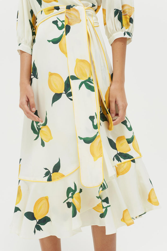 White Lemon Print Silk Wrap Dress image 5