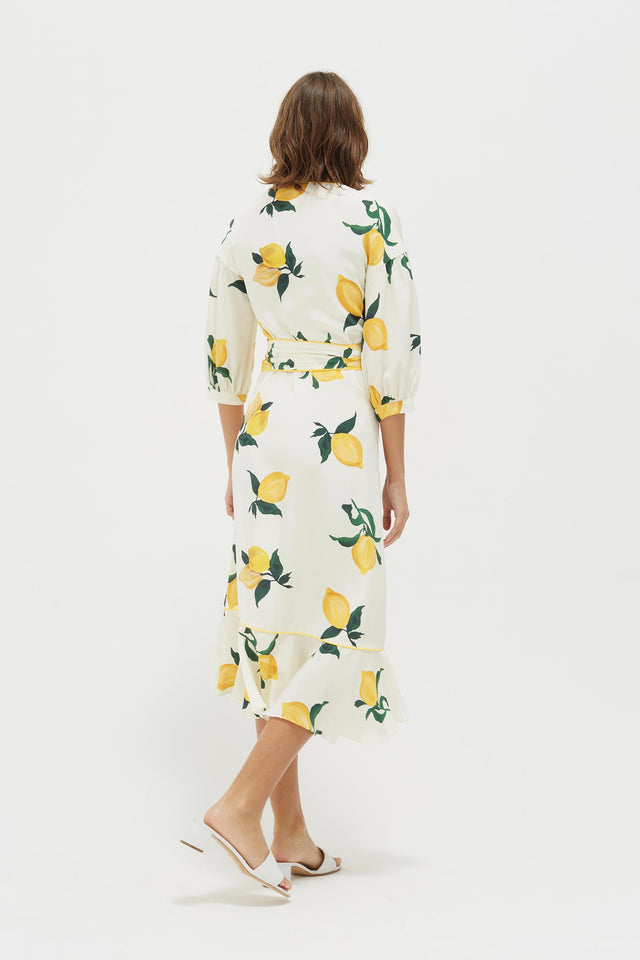 White Lemon Print Silk Wrap Dress image 6