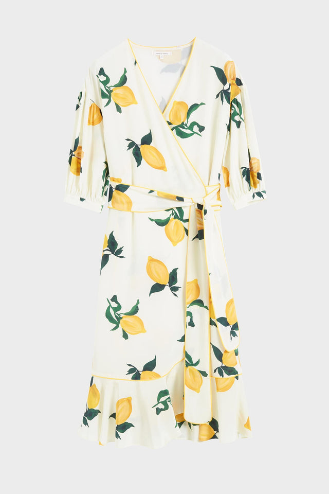 White Lemon Print Silk Wrap Dress image 2