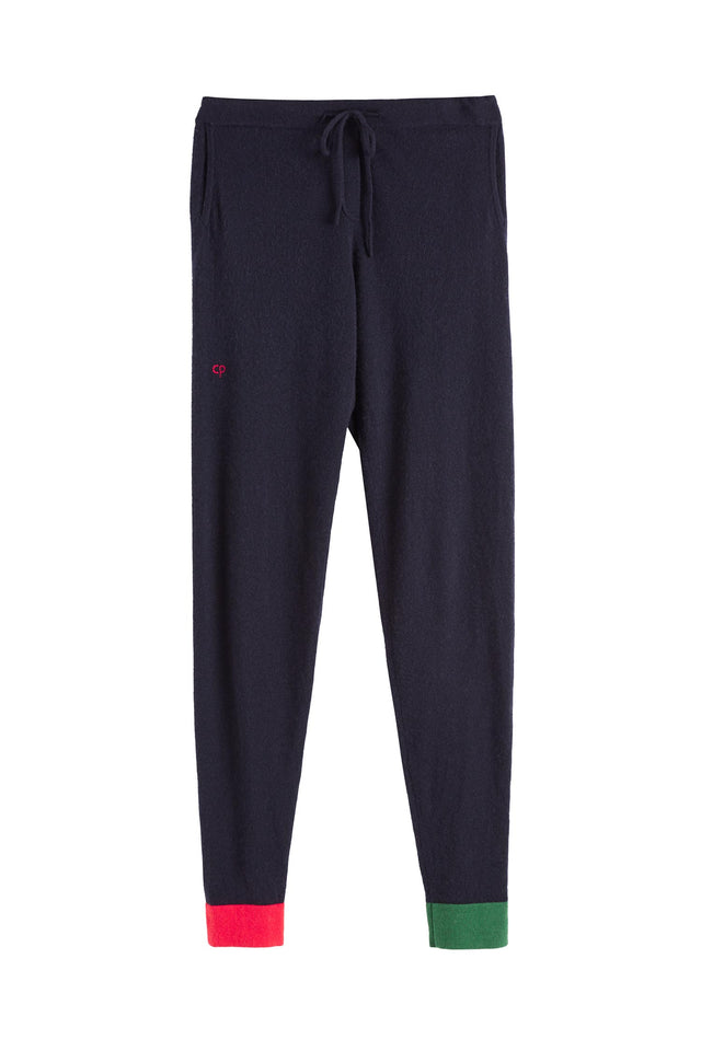 Navy Colour Block Cuff Track Pants image 2
