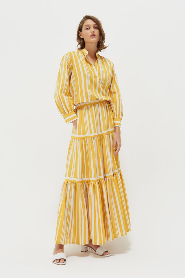Yellow Striped Parasol Tiered Maxi Skirt image 5