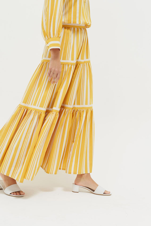 Yellow Striped Parasol Tiered Maxi Skirt image 4