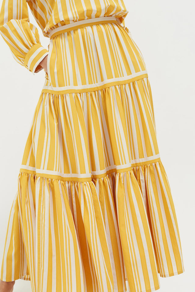 Yellow Striped Parasol Tiered Maxi Skirt image 1