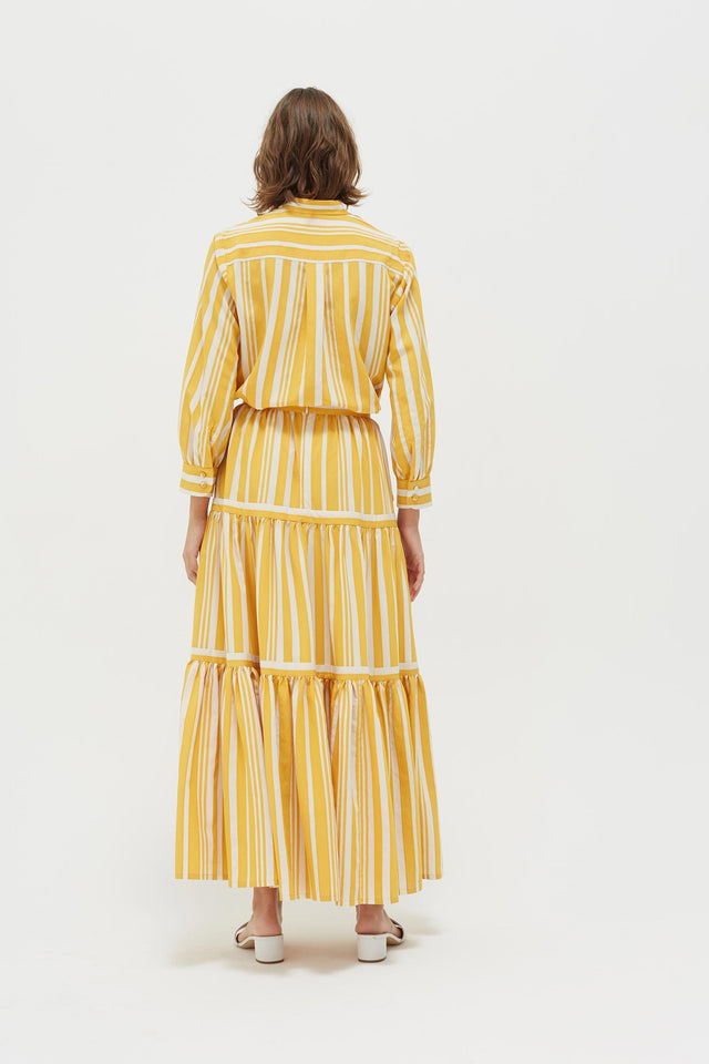 Yellow Striped Parasol Tiered Maxi Skirt image 6
