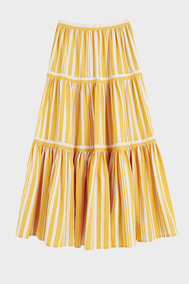 Yellow Striped Parasol Tiered Maxi Skirt image 2