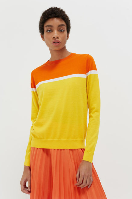 Yellow Colour Block Cashmere Sweater
