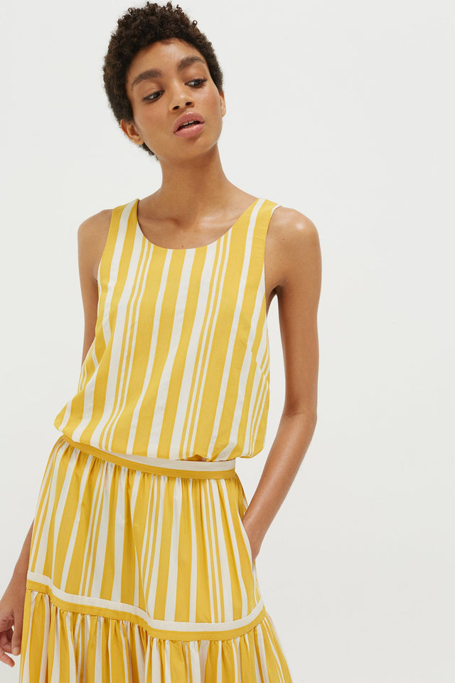 Yellow Striped Parasol Tie Back Top image 1