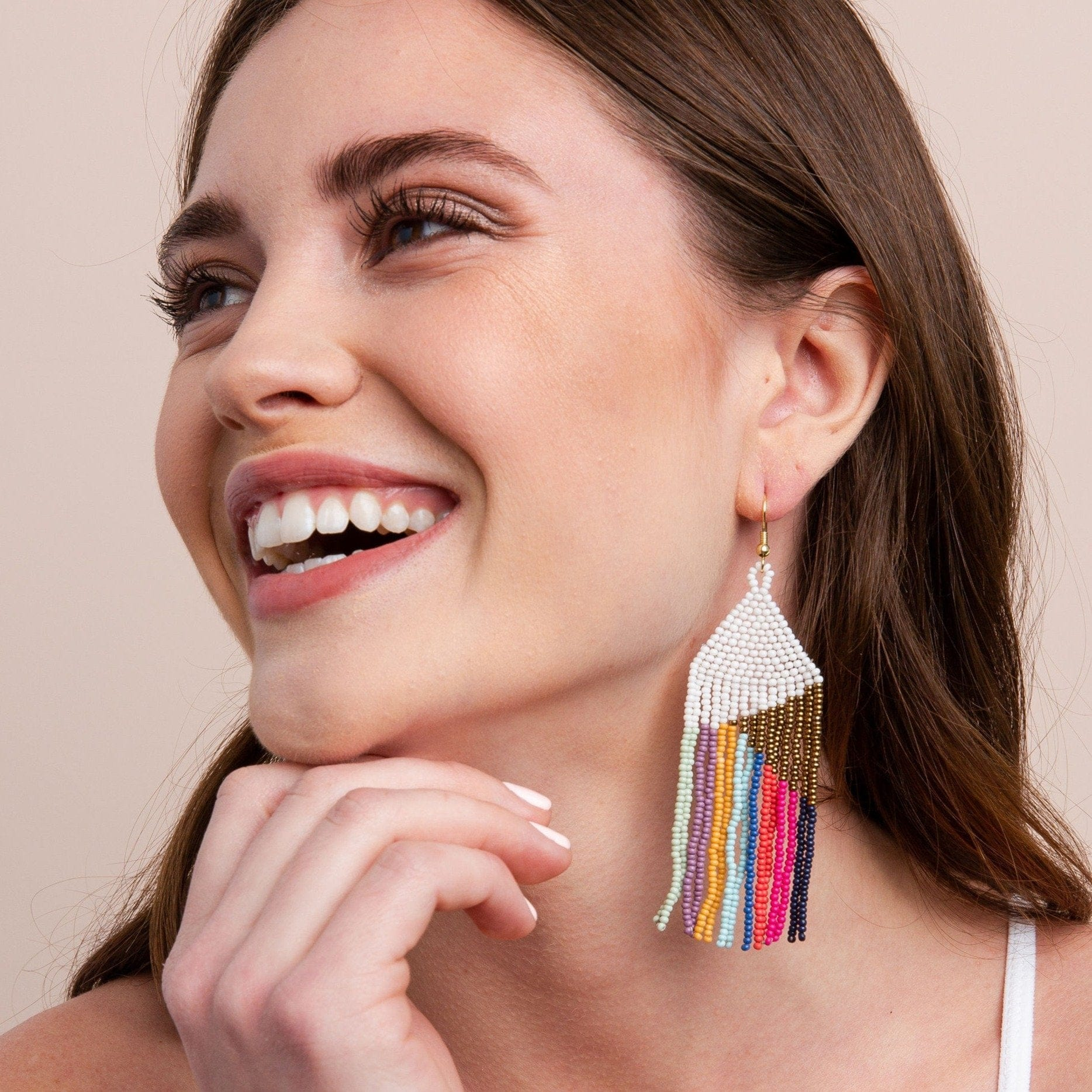 Gold White With Bright Stripes Fringe Earring