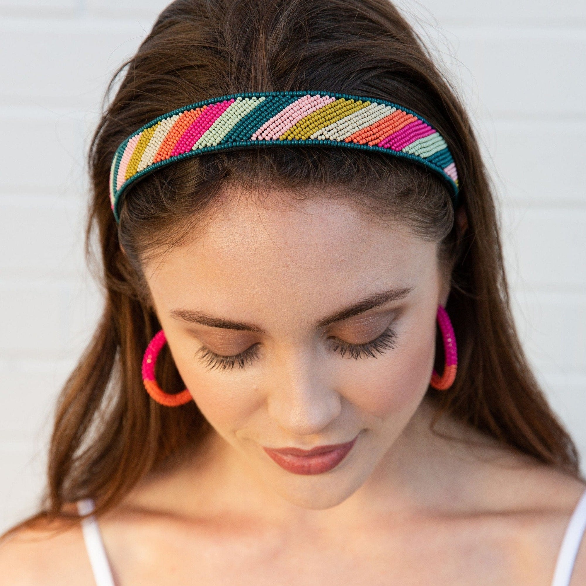 Pink Citron And Peacock Diagonal Stripe Headband