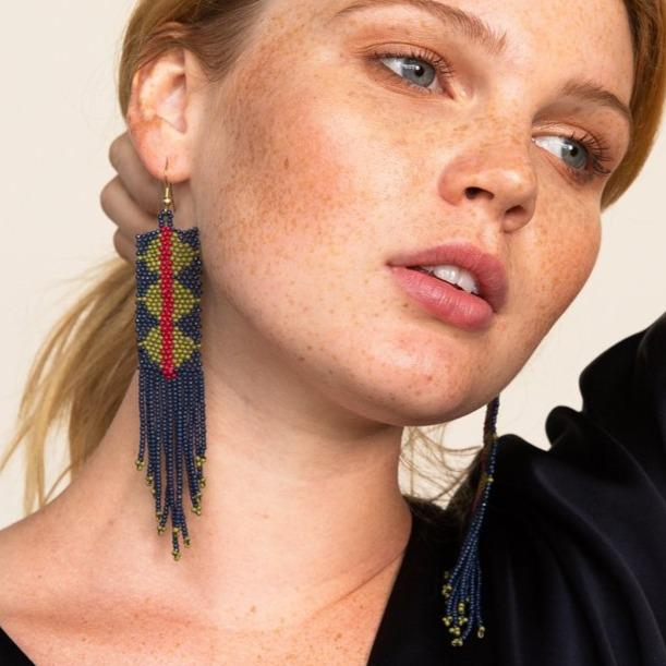 Navy + Green Triangle With Red Stripe Seed Bead Earring