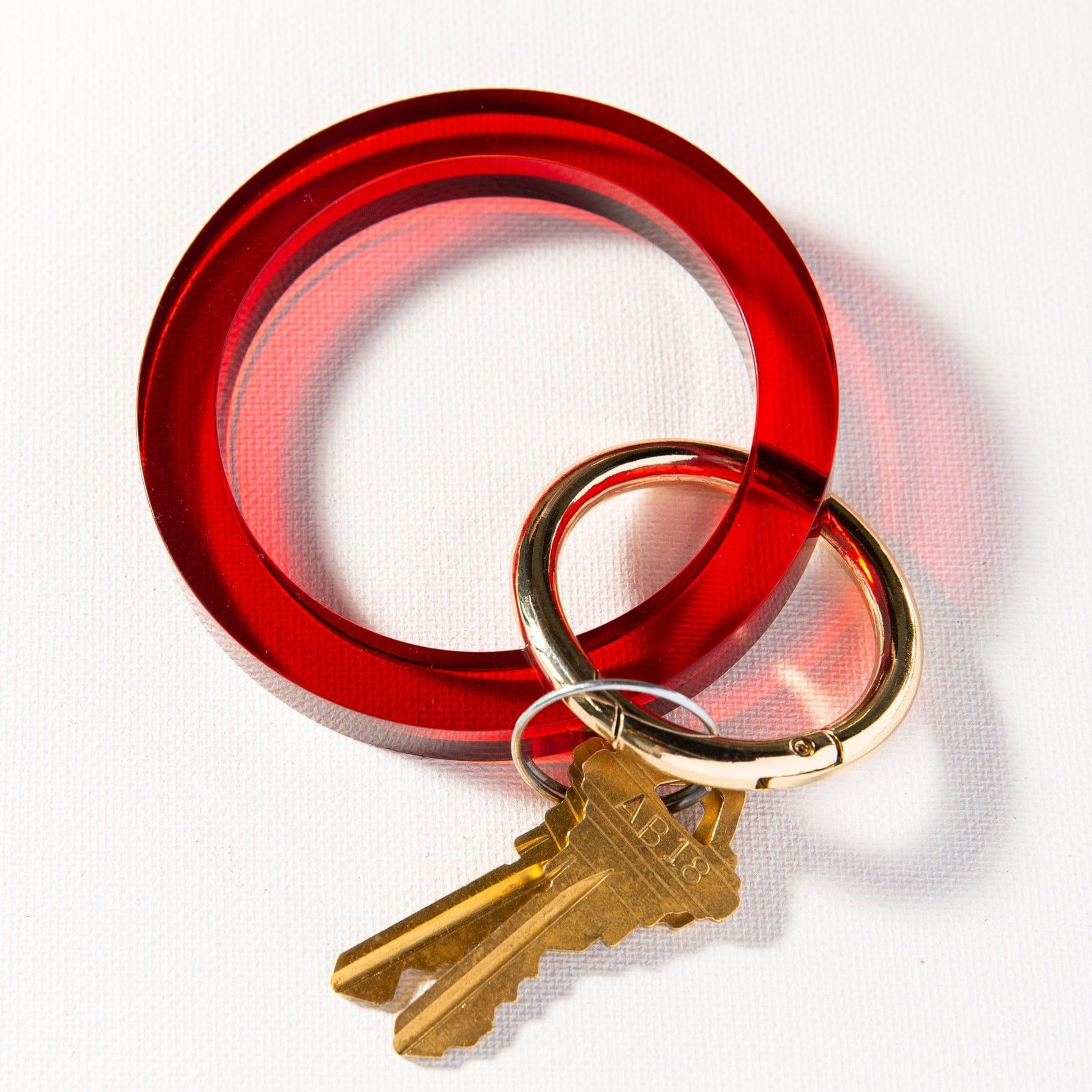 Red Lucite Key Ring