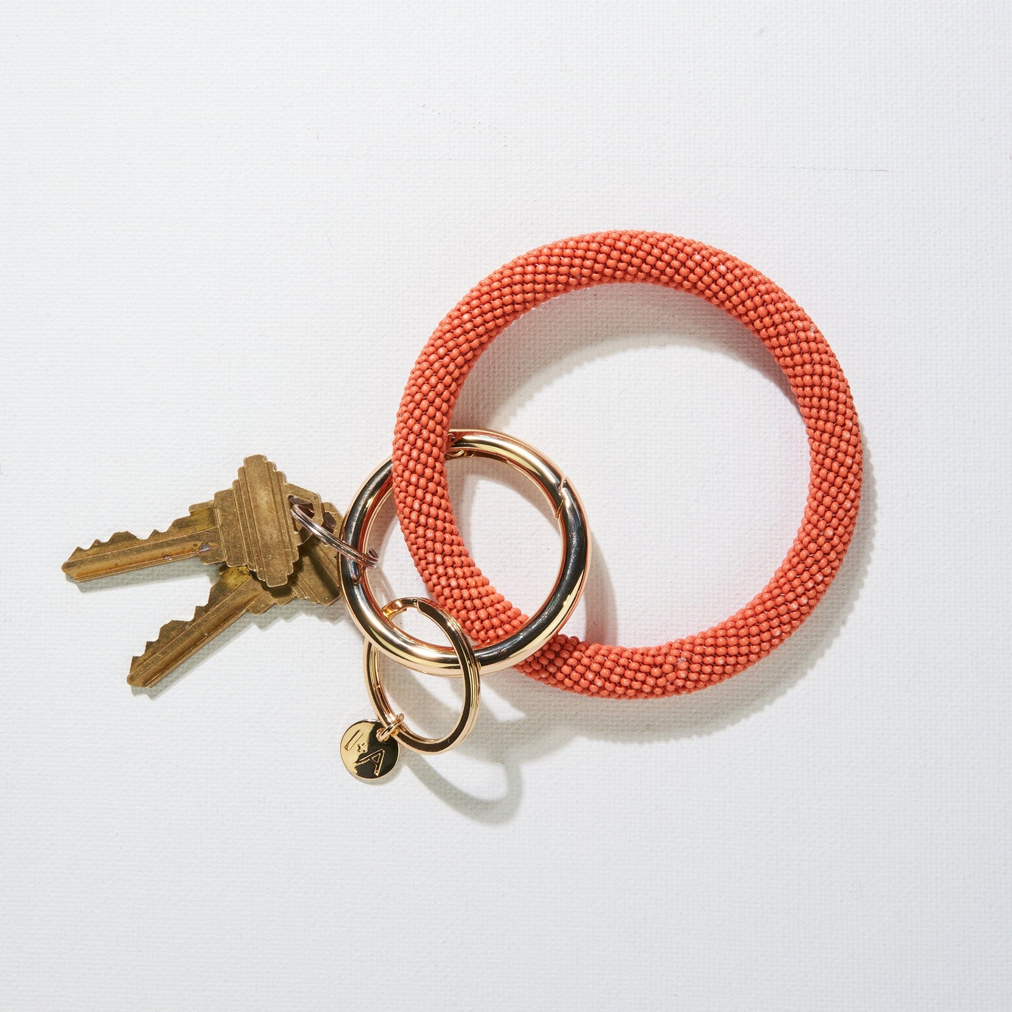 Coral Seed Bead Key Ring