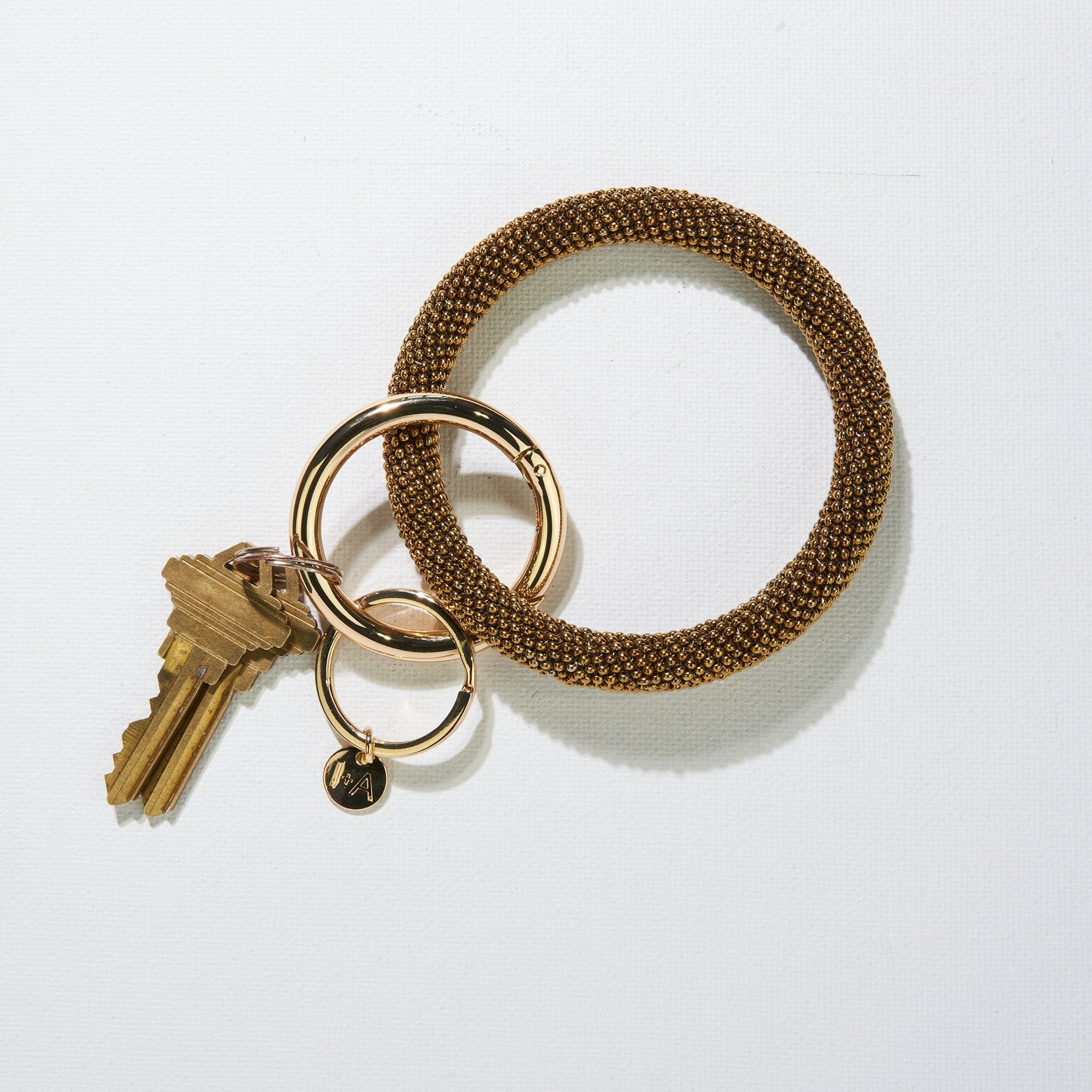 Gold Seed Bead Key Ring