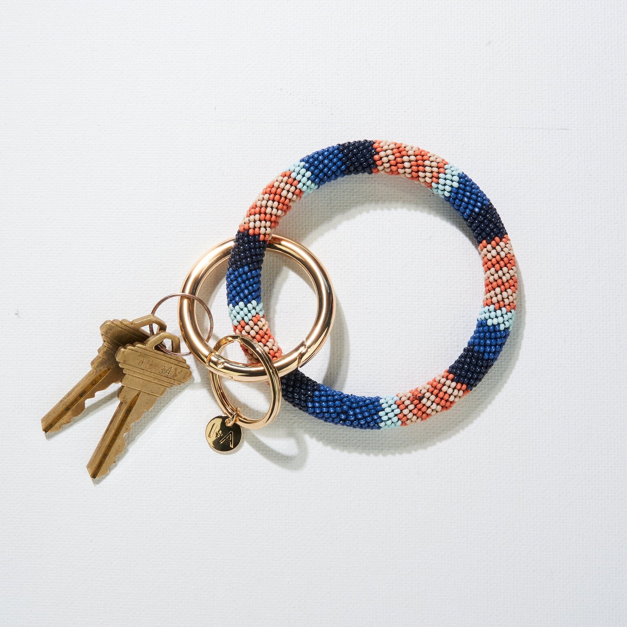 Lapis Stripe Seed Bead Key Ring