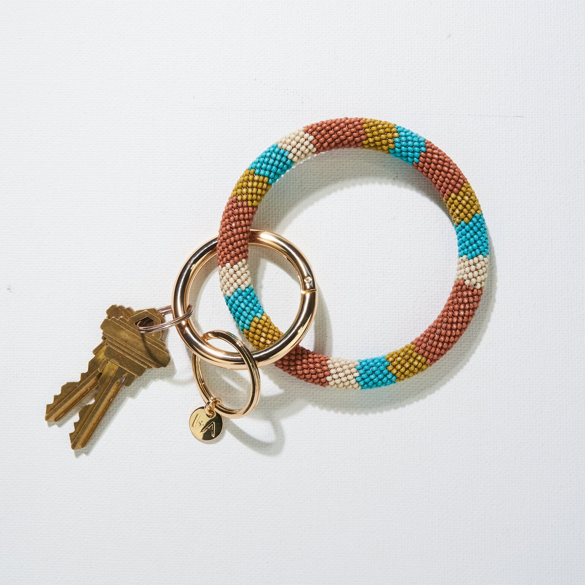 Rust Stripe Seed Bead Key Ring