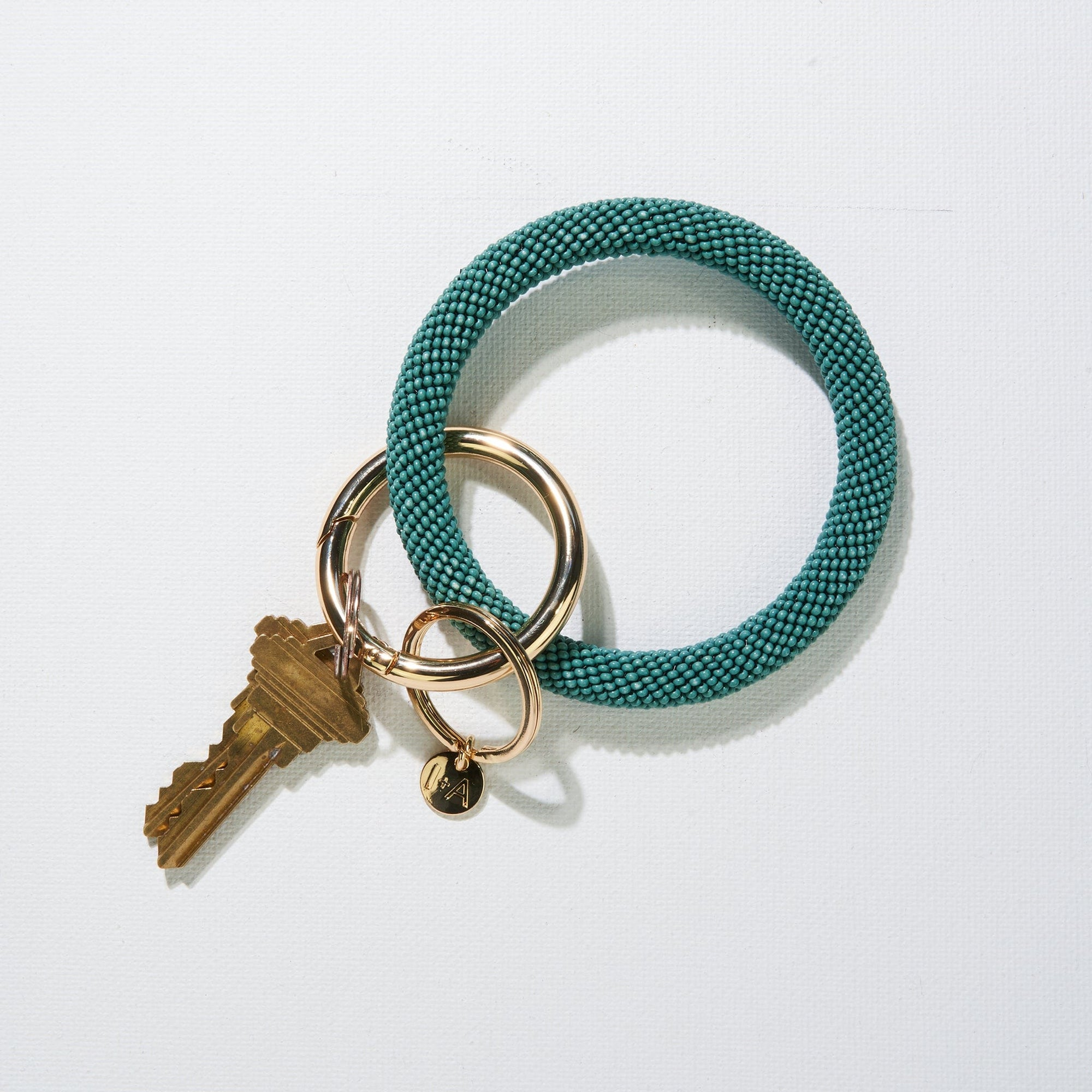 Teal Seed Bead Key Ring