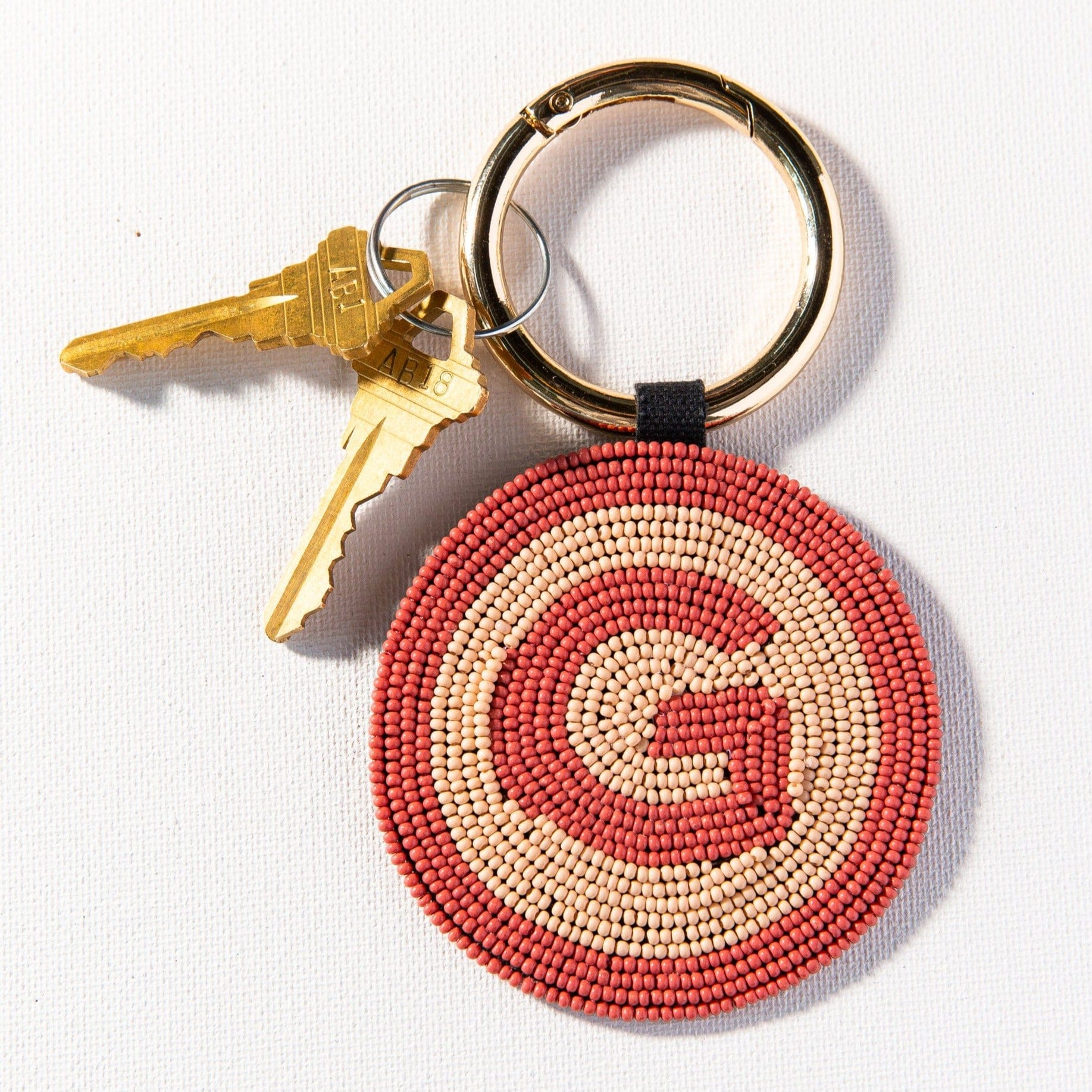 G Pink Monogram Seed Bead Key Ring