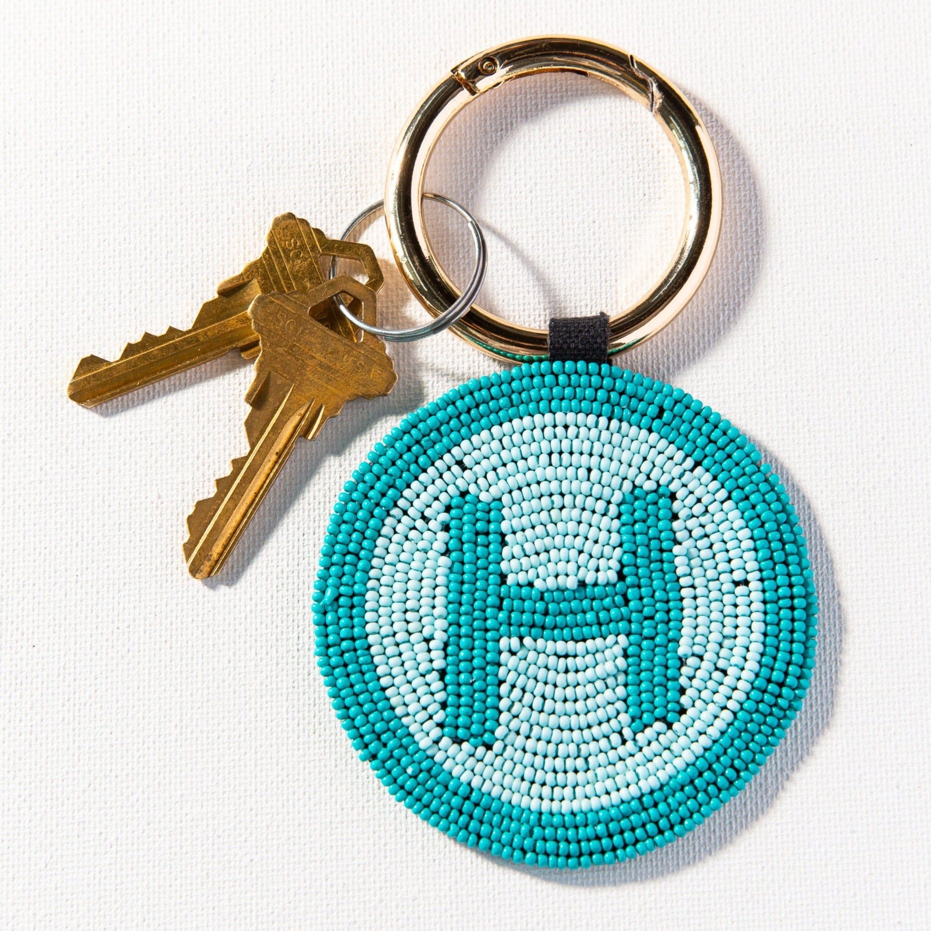 H Turquoise Monogram Seed Bead Key Ring