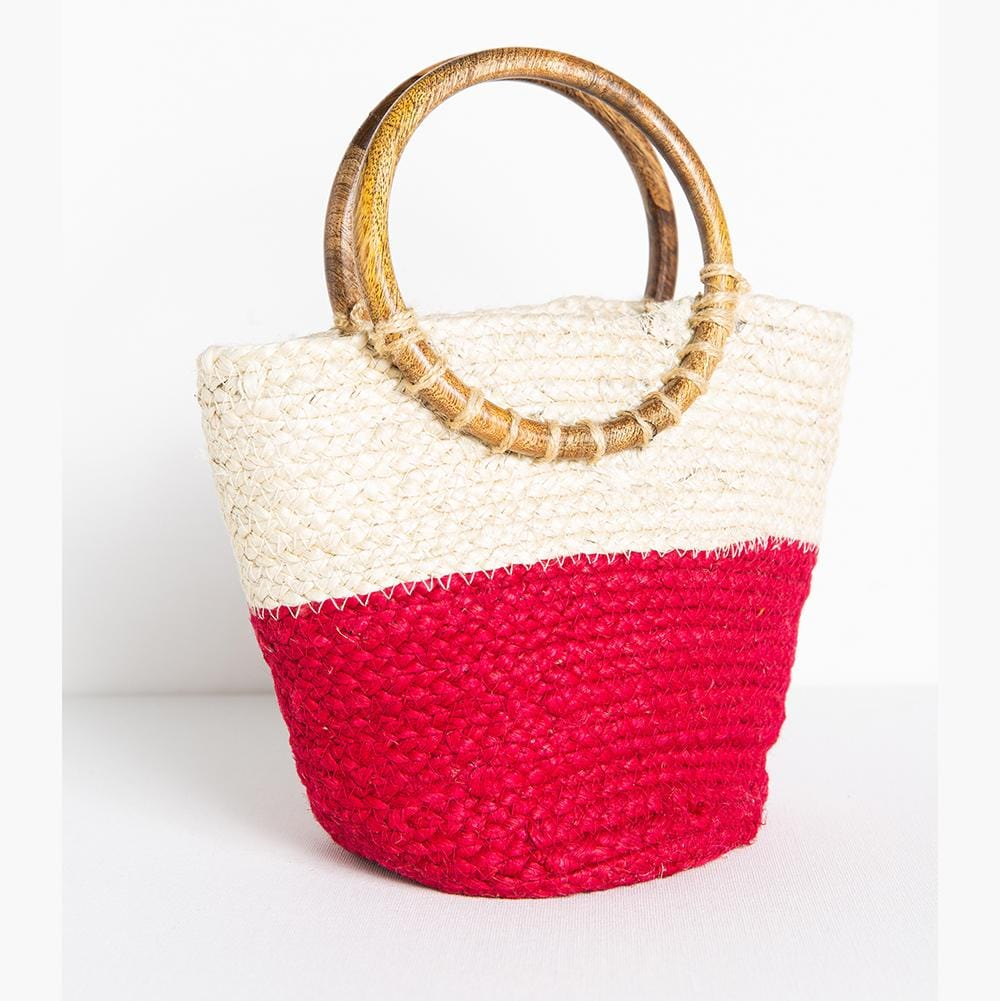 "magenta color block jute bag 11.5"" x 8.5"""