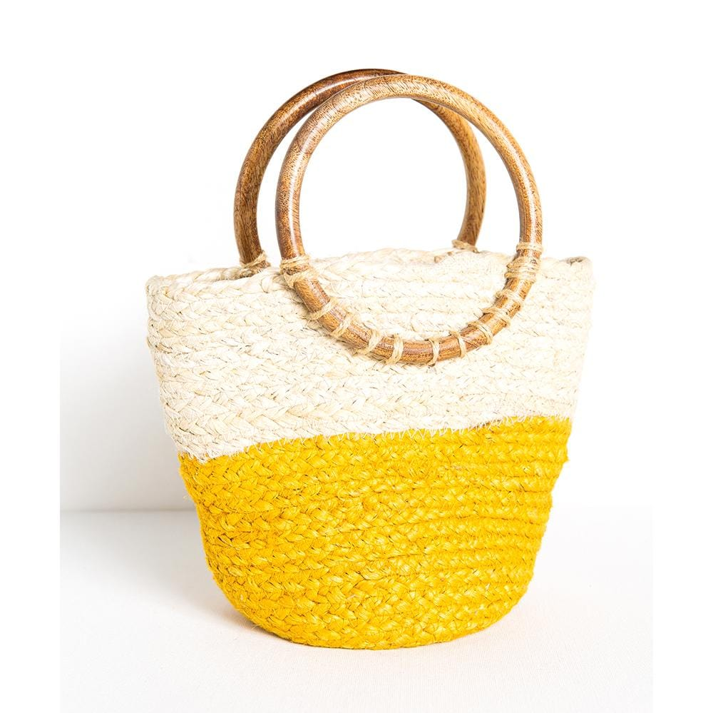 "yellow color block jute bag 11.5"" x 8.5"""
