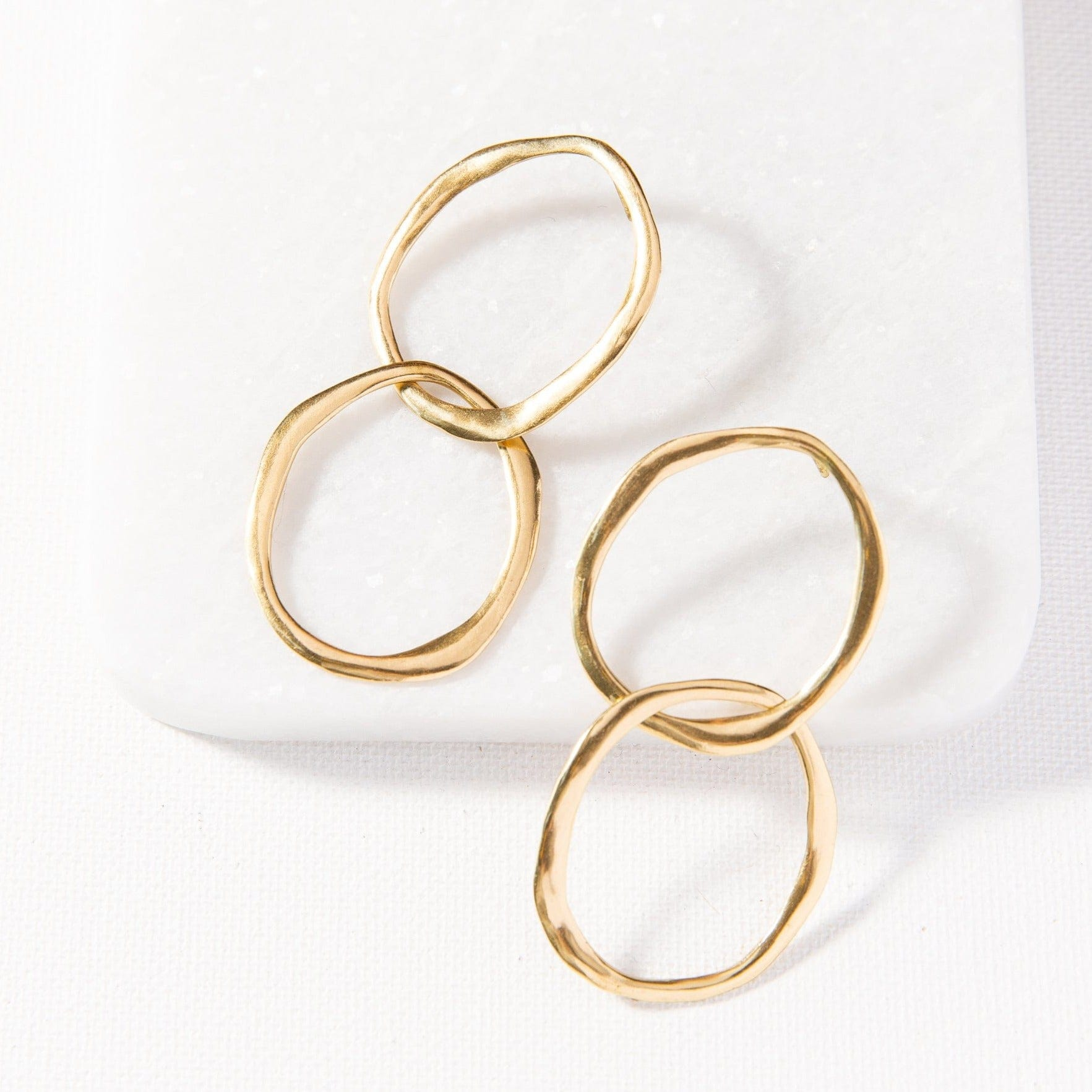 organic open double circle post earrings