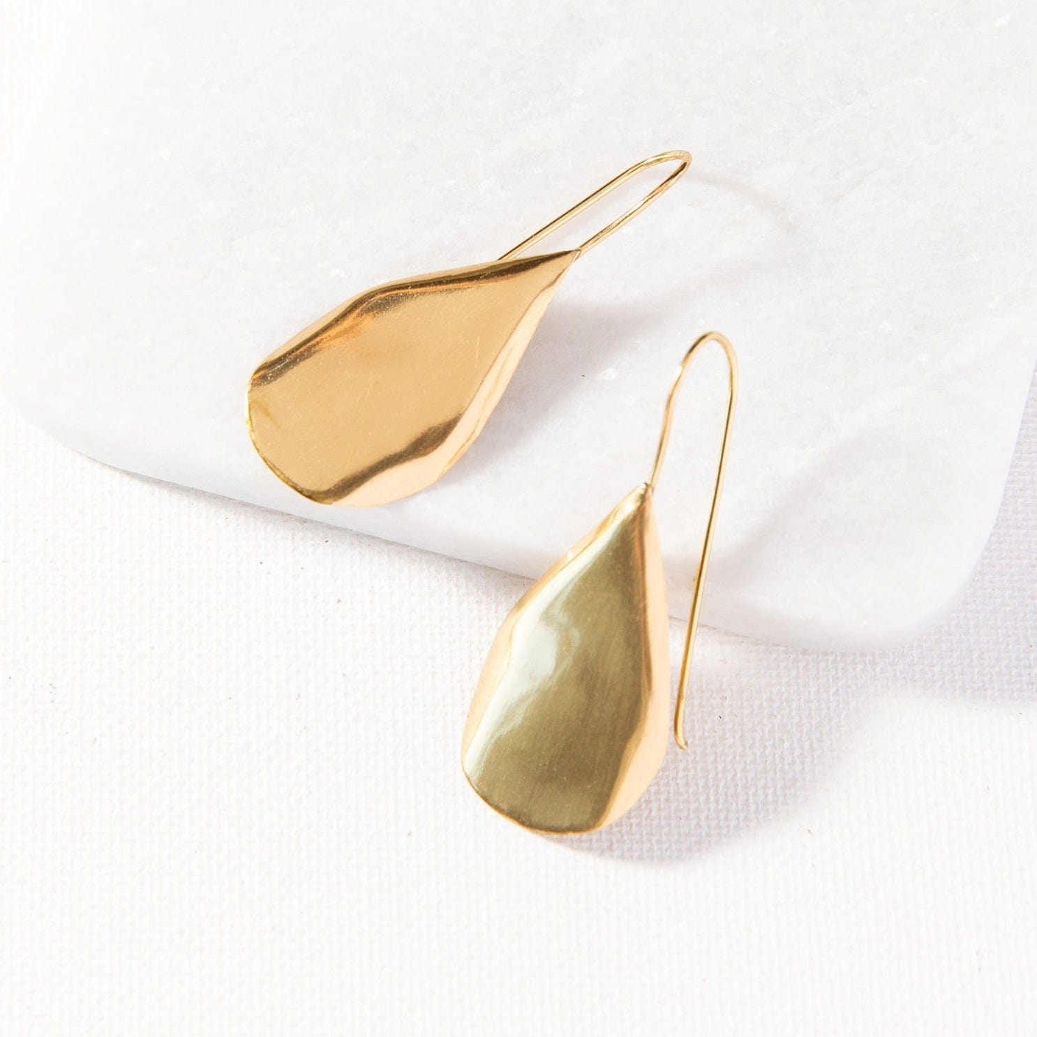 small organic drop brass earrings