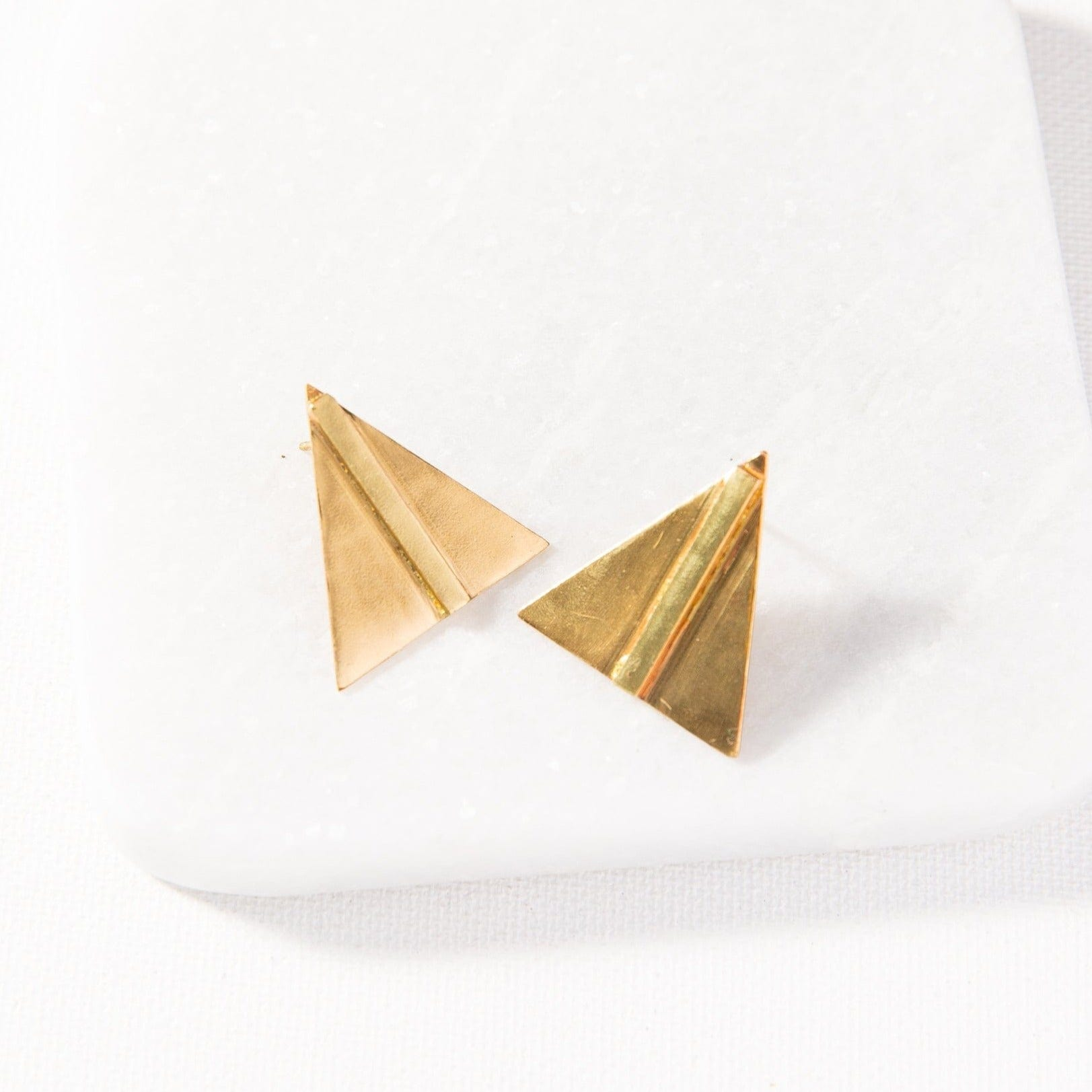 small brass bar in triangle post earrings