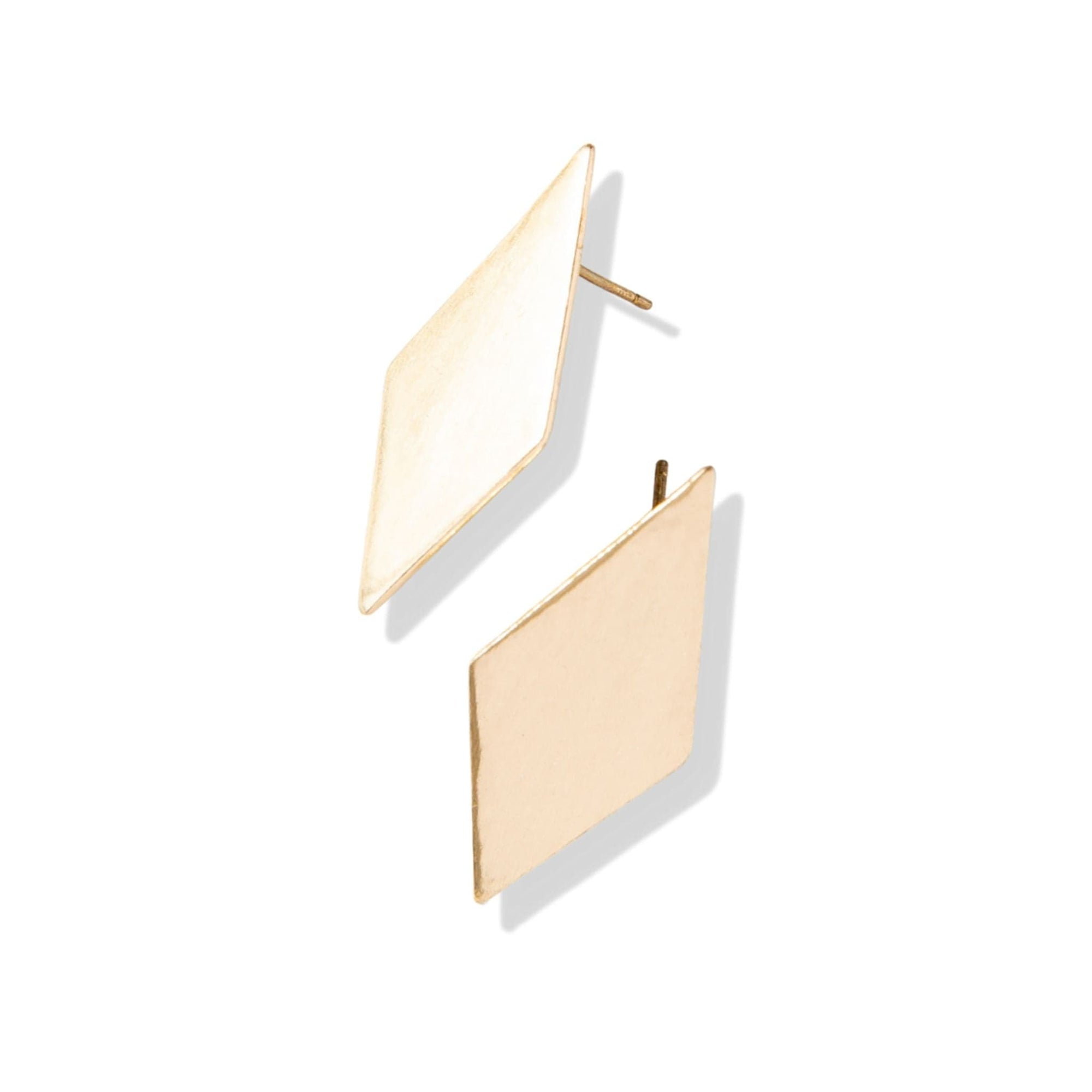 small brass diamond post earrings