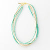 "turquoise and white coconut 7 strand necklace 25"" with extension"