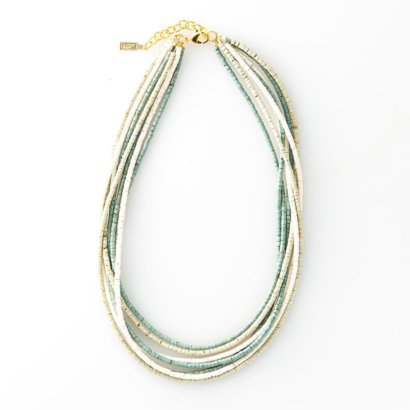 "sage coconut 7 strand necklace 25"" with extension"