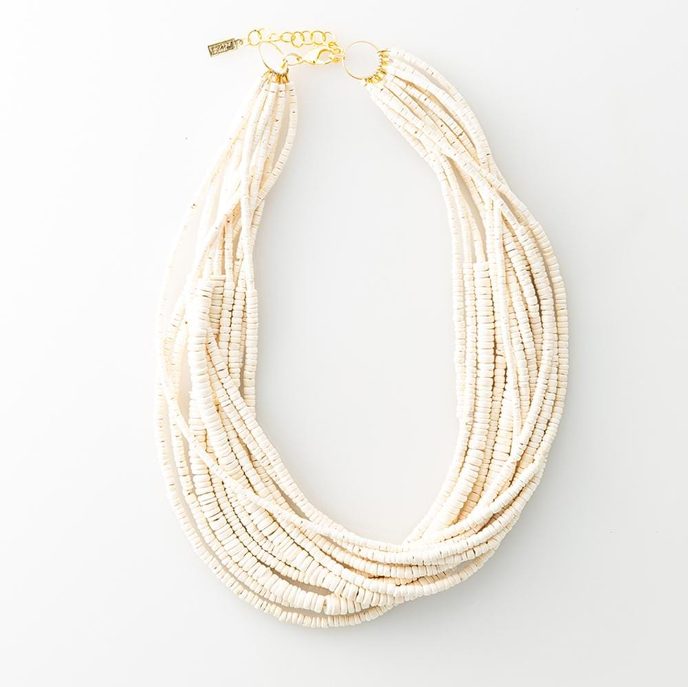 "white coconut 12 strand necklace 25"" with extension"