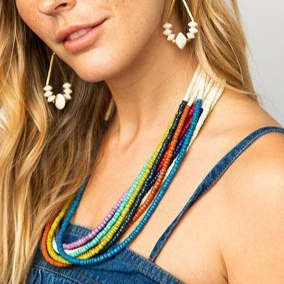 "rainbow multi color coconut 12 strand necklace 25"" with extension"