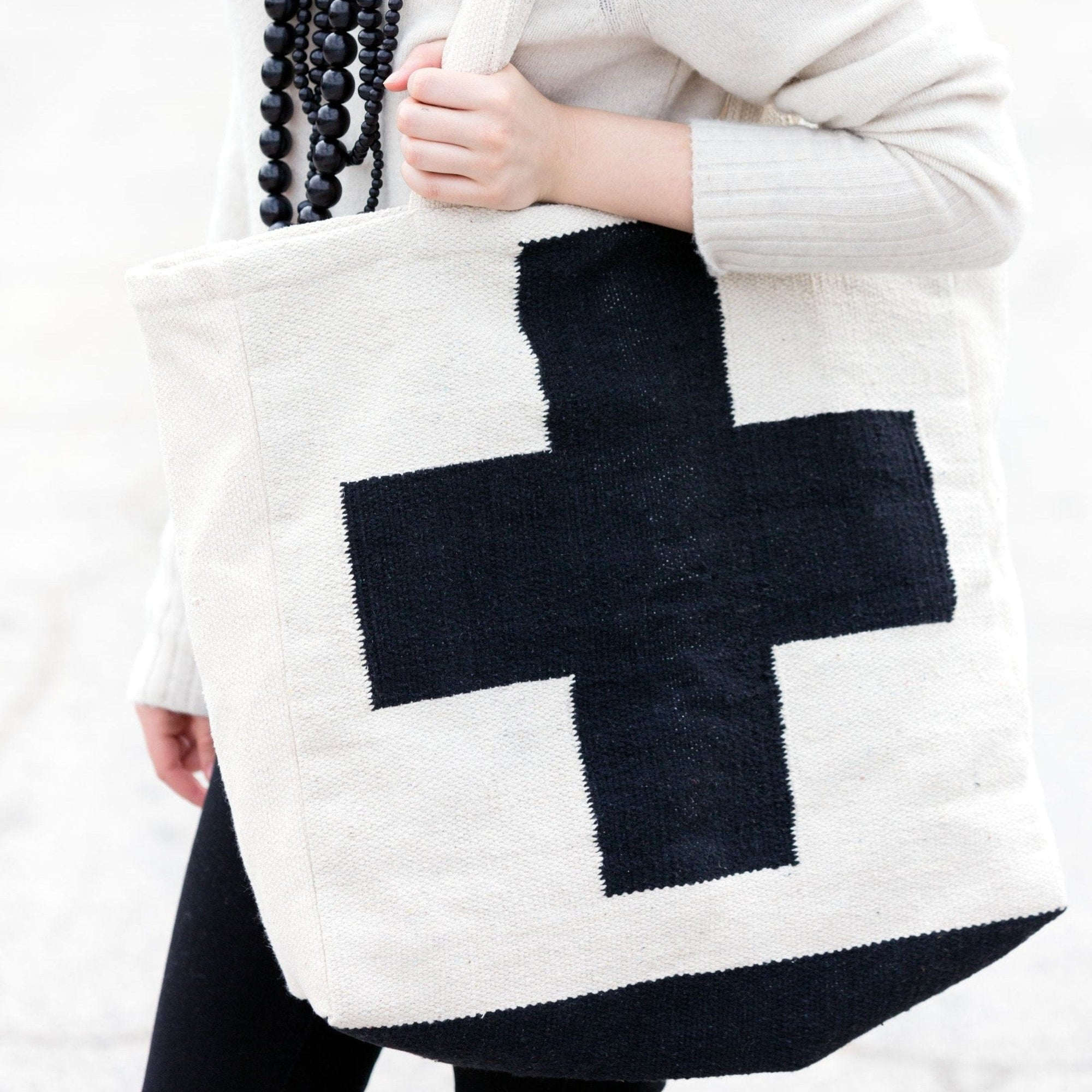 Black and White Cross Dhurrie Tote Bag