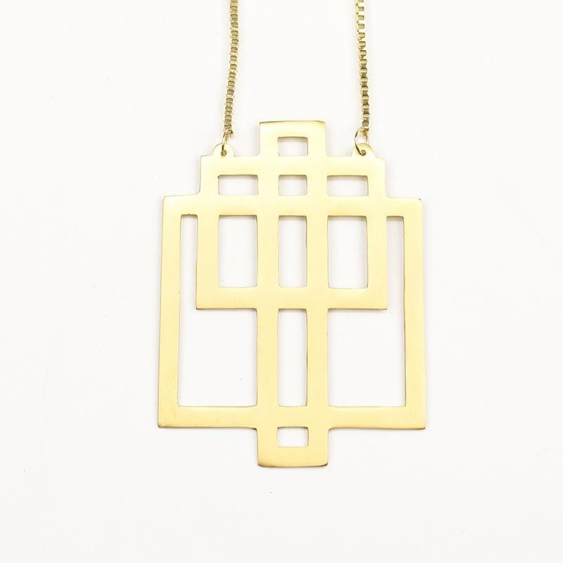 Brass necklace - Geometric Squared Necklace