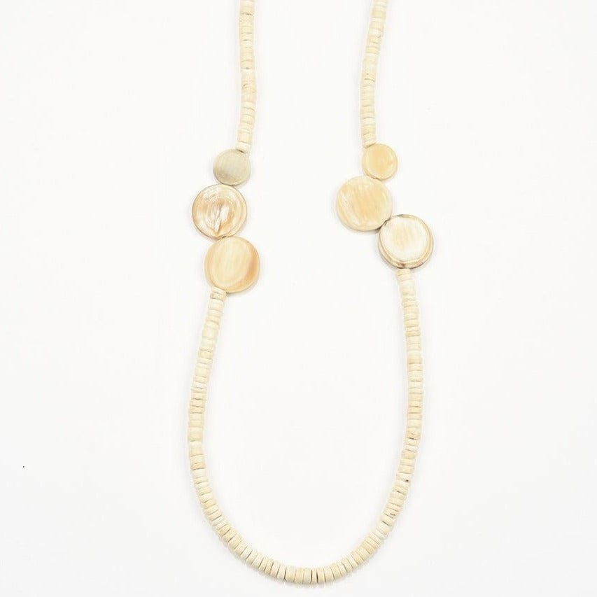 White coconut and horn disc necklace