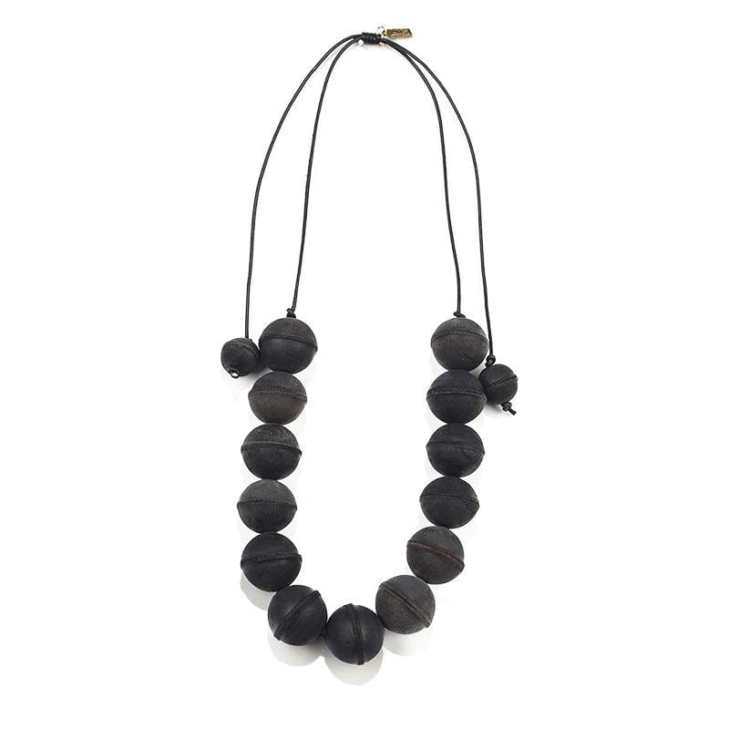 black leather bead adjustable necklace