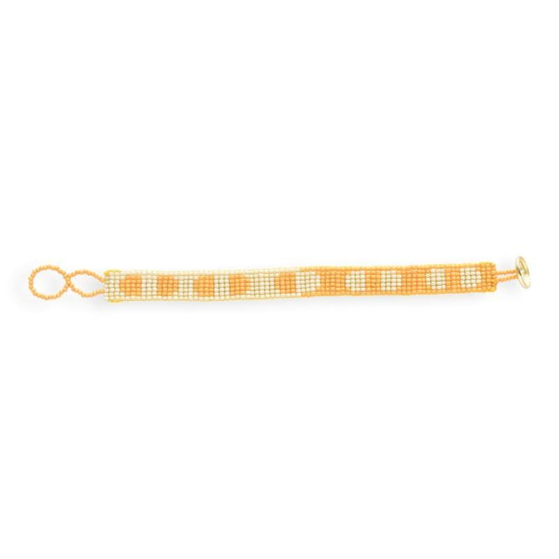 yellow and ivory petite seed bead bracelet