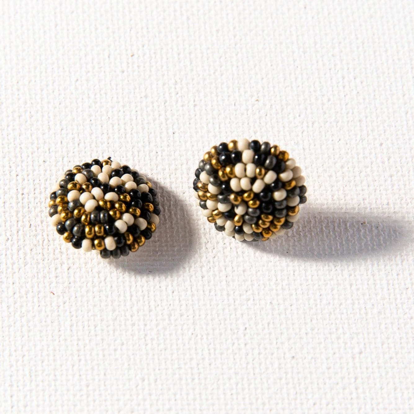 Black Confetti Button Post Beaded Earring