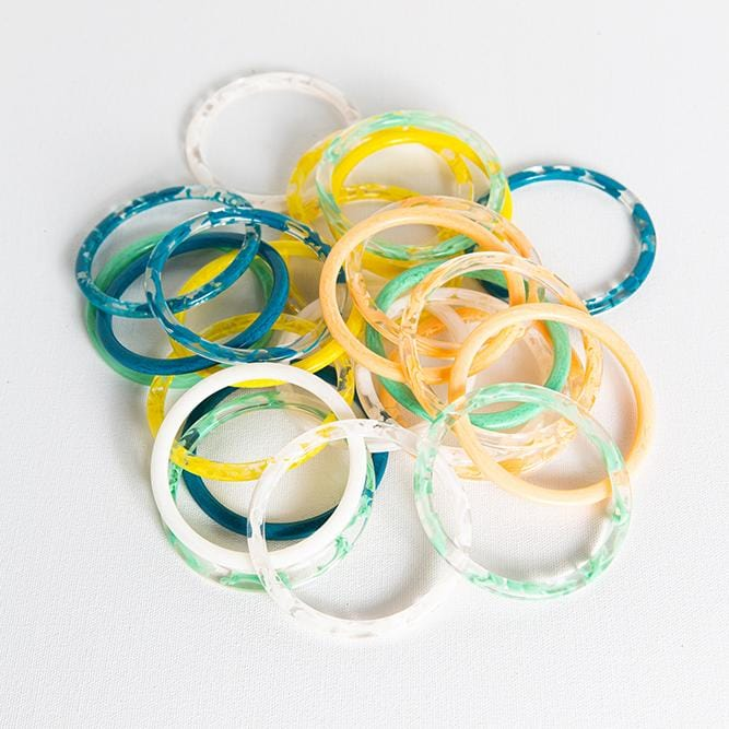 mint marbled acetate set of 5 thin bangles