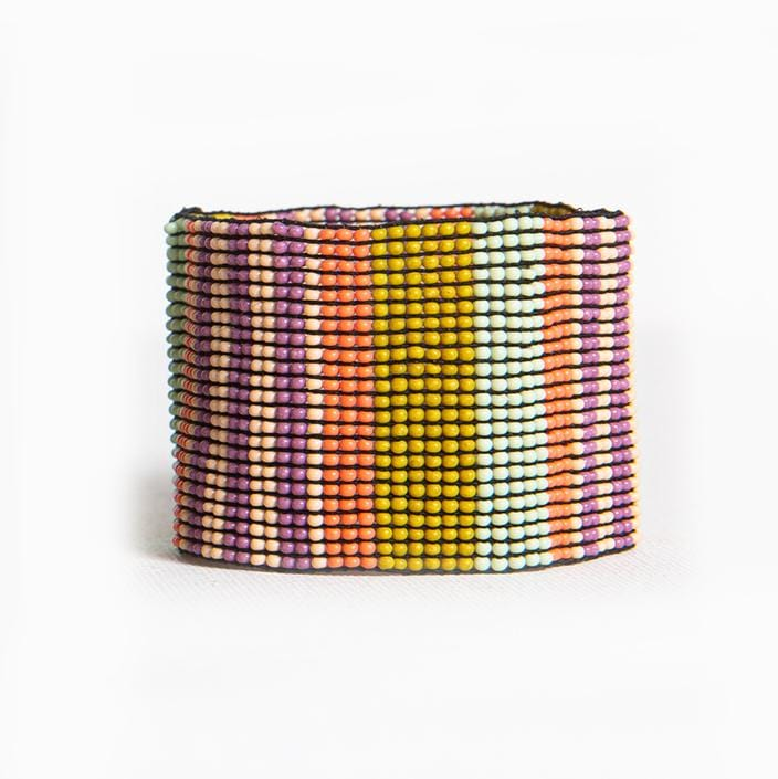 lilac coral and citron stripe stretch bracelet 1.5""