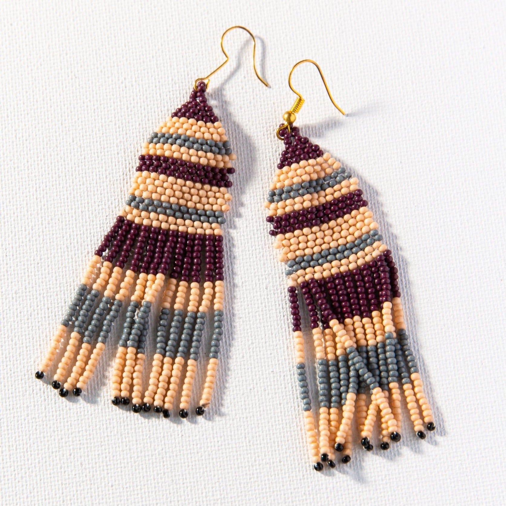 Pink, port & grey seed bead stripe earrings